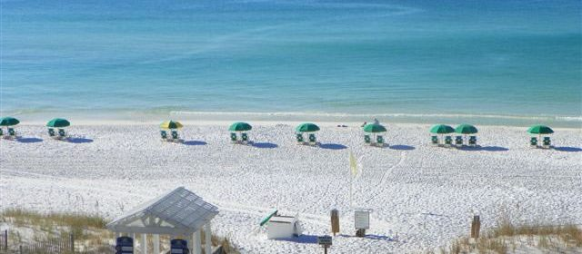 A view of the private beach at Beach Retreat in Destin FL.