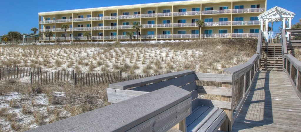 A view of the condos from the beach