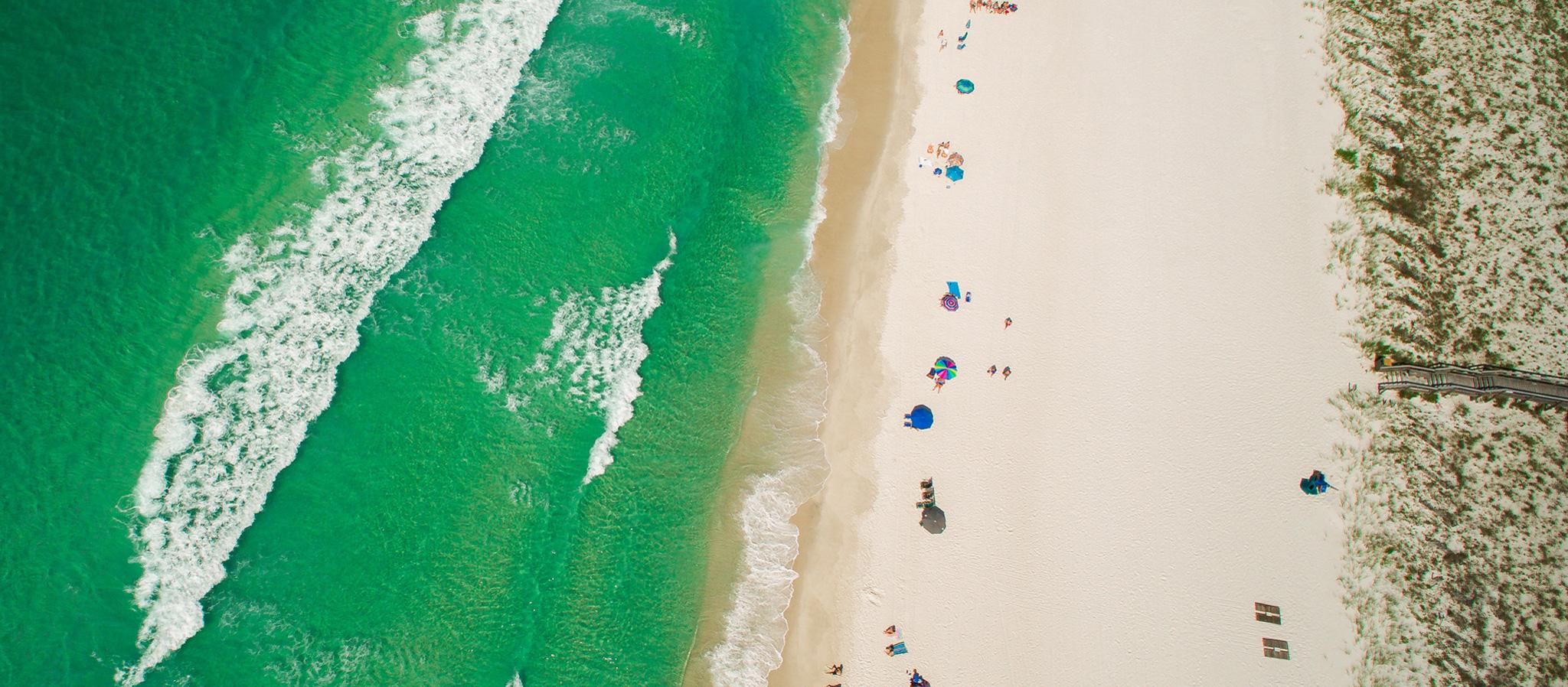 Aerial view of Destin beach