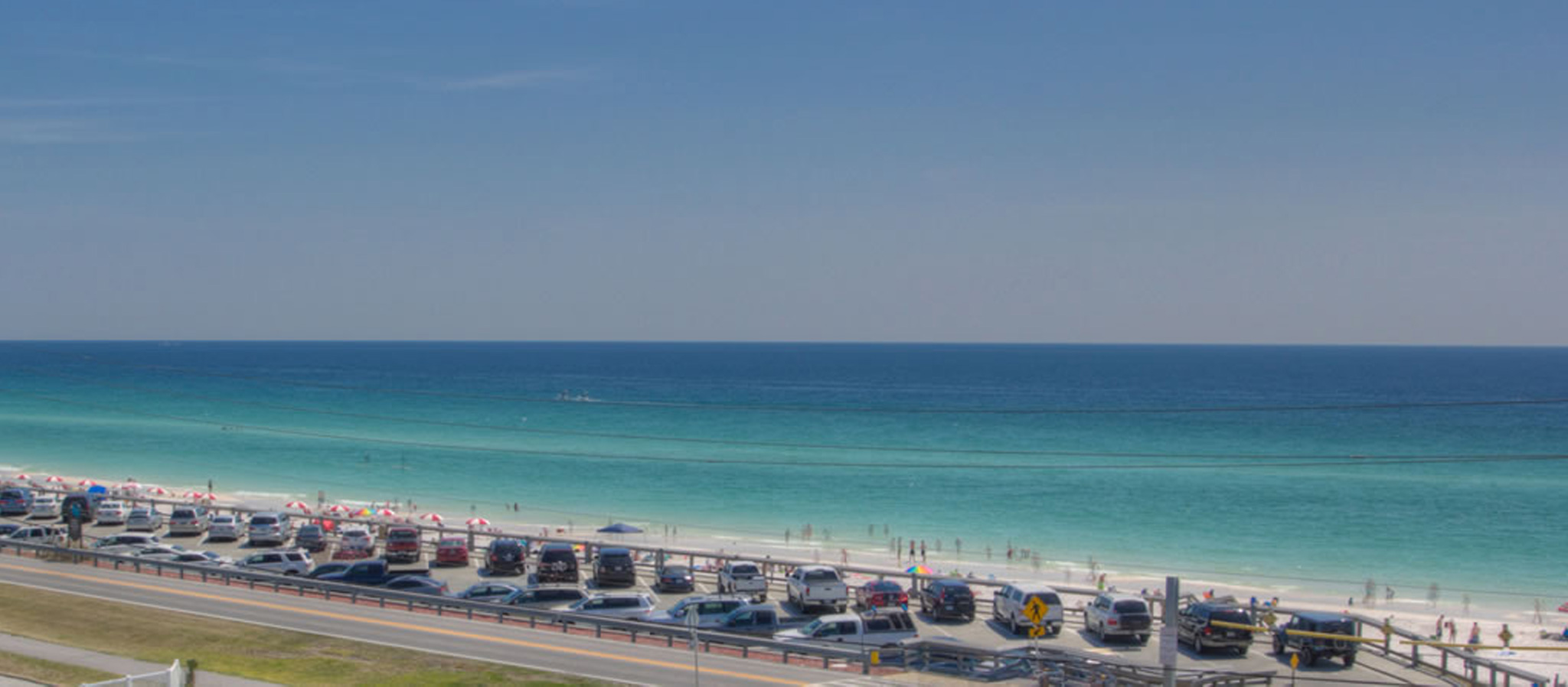 View of the beach vacationing at Crystal View in Destin FL.